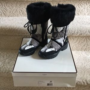 Coach winter boots with rabbit fur trim